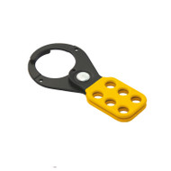 Coated Hasp, Steel,Black/Yellow, 1.5 in.,6-Hole, No Tabs