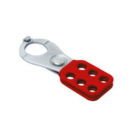 "Coated Hasp, Steel, Red, 1"" Jaw Diameter, with Tabs"
