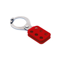 "Coated Hasp, Steel Red, 1.5"" Jaw Diameter, with Tabs"