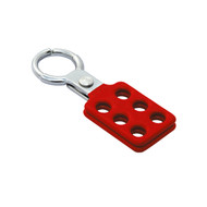 "Coated Aluminum Hasp, Red, 1"" Jaw Diameter"