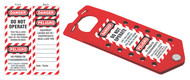 Hasp and Tag Combination Device, Red, Aluminum