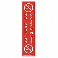 "Sign, No Smoking Oxygen In Use, 9 x 2"", Adhesive"