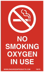 "Sign, No Smoking Oxygen In Use, 5 x 3"", Adhesive"