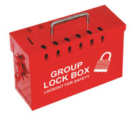 Group Lockout Box, 13-Hole, Steel, Red