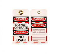 "Lockout Tag, Bilingual, DANGER DO OPERATE, NO USAR, 6""x3"", 10/Pk"