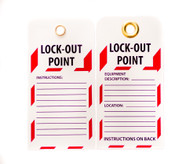"Lockout Tag, 10/PK, LOCK-OUT POINT, 6""x3"""