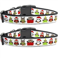 Santa Owls Dog Collar