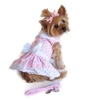 Pink Polka Dot and White Lace Dog Dress and Leash