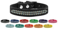 AB Crystal Dual Row Genuine Leather Collar