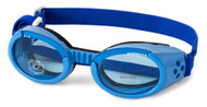 Shiny Blue ILS Doggles with Blue Lens & Straps