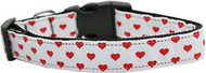 White and Red Hearts Nylon Dog Collar