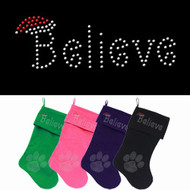 Believe Rhinestone Dog Christmas Stocking