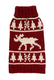 Burgundy Moose Dog Sweater