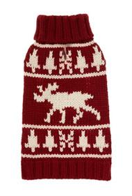 Burgundy Moose Dog Sweater
