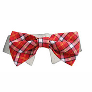 Bow Tie Dog Collar - Red Checker