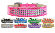 Metallic 3-Row Crystal Dog Collar