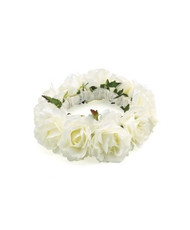 White Rose Wedding Dog Collar - Large Dogs