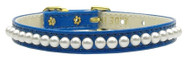 Pearl Dog Collar- Blue
