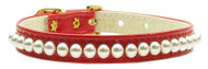 Pearl Dog Collar- Red