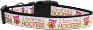 Save the Hooters Nylon Ribbon Dog Collar