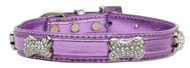 Metallic Crystal Bone Dog Collar- Purple