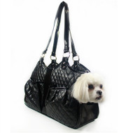 Black Quilted Luxe Metro Dog Carrier