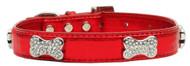 Metallic Crystal Bone Dog Collar- Red