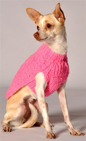Cable Knit Dog Sweater- Pink