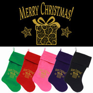 Golden Christmas Present Dog Christmas Stocking