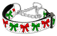 Christmas Bows Martingale Dog Collar