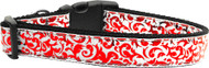 Red &  White Shimmer Nylon Ribbon Dog Collar