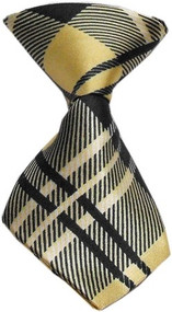 Plaid Cream Dog Neck Tie