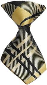 Plaid Cream Dog Neck Tie