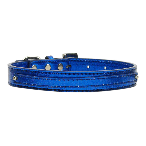 10mm Blue Metallic Two Tier Dog Collar