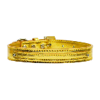 10mm Gold Metallic Two Tier Dog Collar