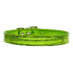 10mm Lime Green Metallic Two Tier Dog Collar