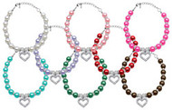Heart & Pearl Dog Necklace