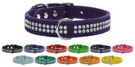 Two Row Jeweled Leather Dog Collar