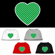 Green Polka Dot Heart Dog Shirt
