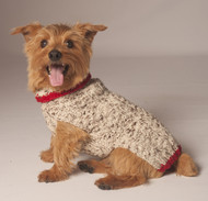 Oatmeal & Red Cable Knit Dog Sweater