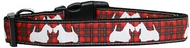 Red Plaid Scottie Pups Dog Collar