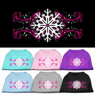 Pink Snowflake Swirls Dog T-Shirt