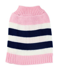 Midlee Pink Striped Colorblock Dog Sweater (X-Small)