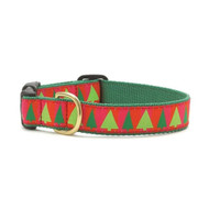 Up Country Christmas Festive Trees Dog Collar, Large