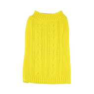 Midlee Cable Knit Dog Sweater (Small, Yellow)