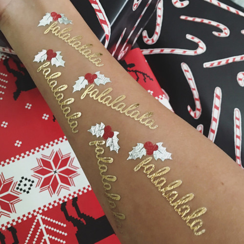 The 'DECK THE HALLS' party bundle set includes 25 pre-cut metallic Flash Tattoos for quick and easy application to seasonal décor, invitations and gifts.  #FLASHTAT @FlashTattoos