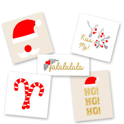 The  'Santa Baby Variety Set' is a fun and festive mix of styles featuring 25 assorted pre-cut metallic holiday tattoos!  #FLASHTAT @FlashTattoos