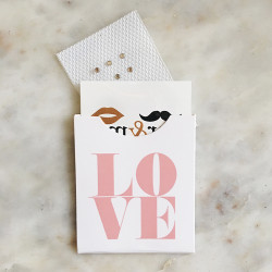 The 'Big Love Tattoo Sleeve' is a must have for creating diy wedding favors, save the date inserts or handing out to customers. Can hold up to 6 metallic temporary Flash Tattoos! #FLASHTATFORME #FLASHTAT @flashtattoos