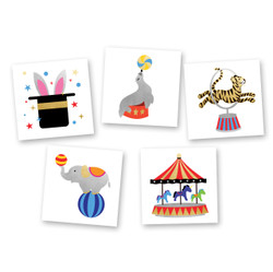 The 'Circus Variety Set' perfect for any circus themed party, event or celebration. Set includes 25 tattoos to use as party favors or decorations!  @FlashTattoo #FLASHTAT