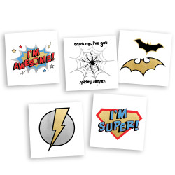 The 'Superhero Variety Set', 5 designs and 25 Fun Tats by Flash Tattoos for your kids next superhero themed birthday party!  @Fun_Tats  #FUNTATS